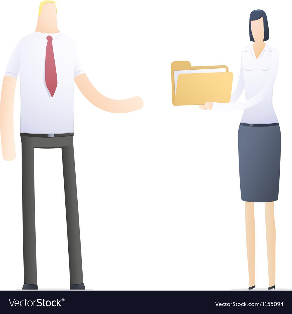 Secretary sends important documents vector | Price: 1 Credit (USD $1)