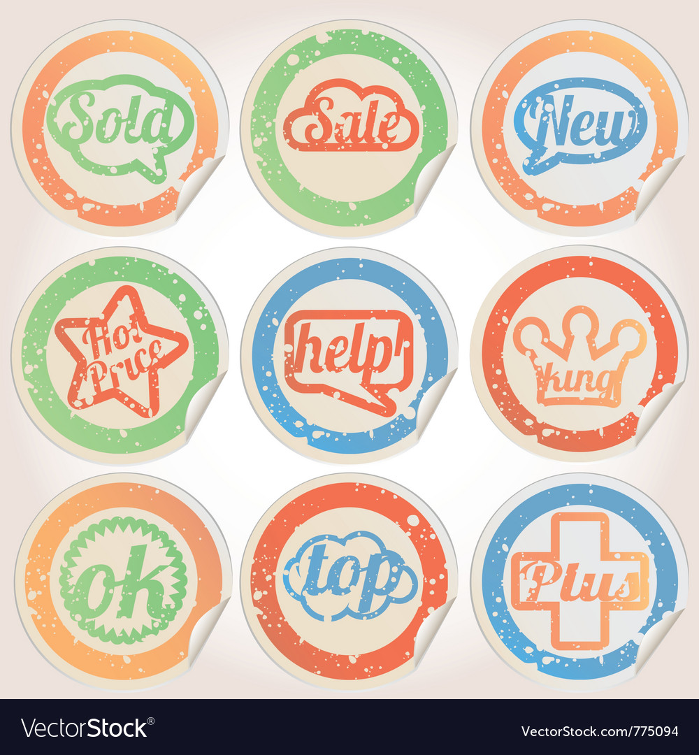 Set sticker paper grunge vector | Price: 1 Credit (USD $1)