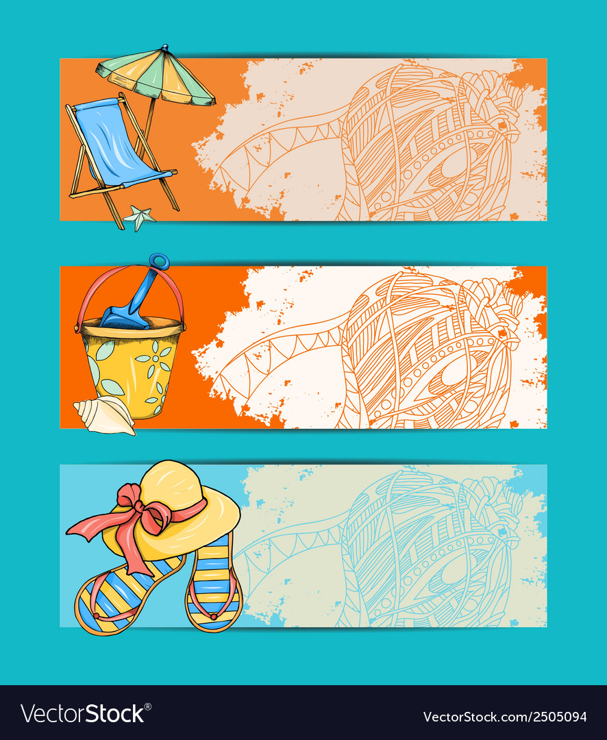 Summer retro hand drawn design card vector | Price: 1 Credit (USD $1)