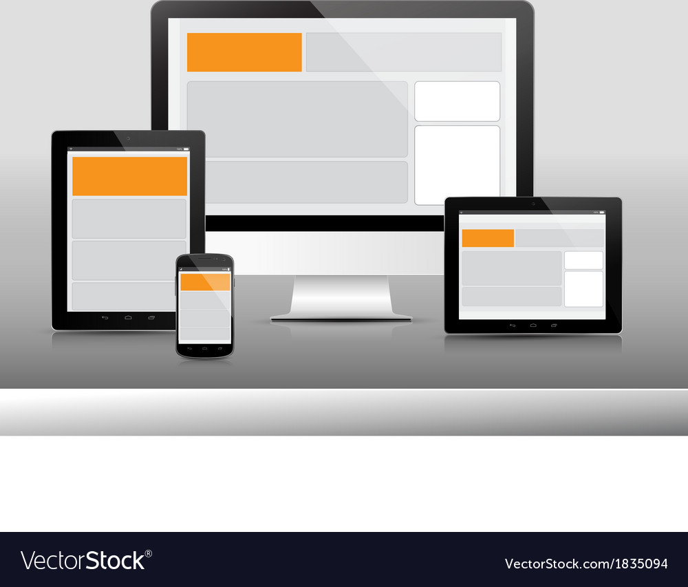 Technology device 3 responsive 380x400 vector | Price: 1 Credit (USD $1)