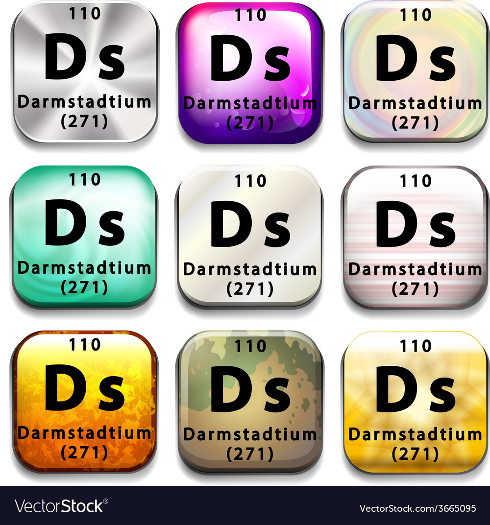 A periodic table button showing darmstadtium vector | Price: 1 Credit (USD $1)