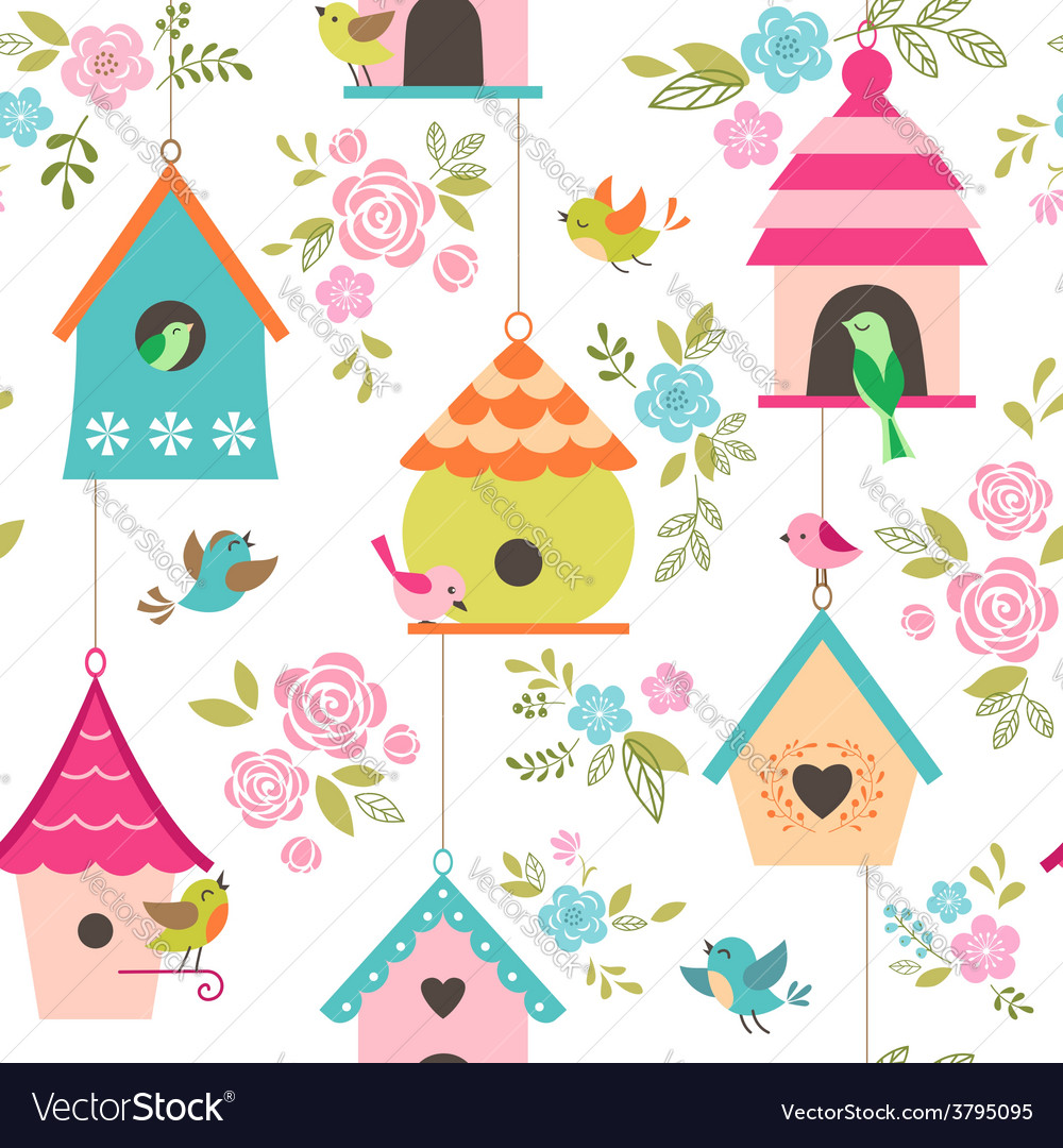 Bird houses pattern vector | Price: 1 Credit (USD $1)