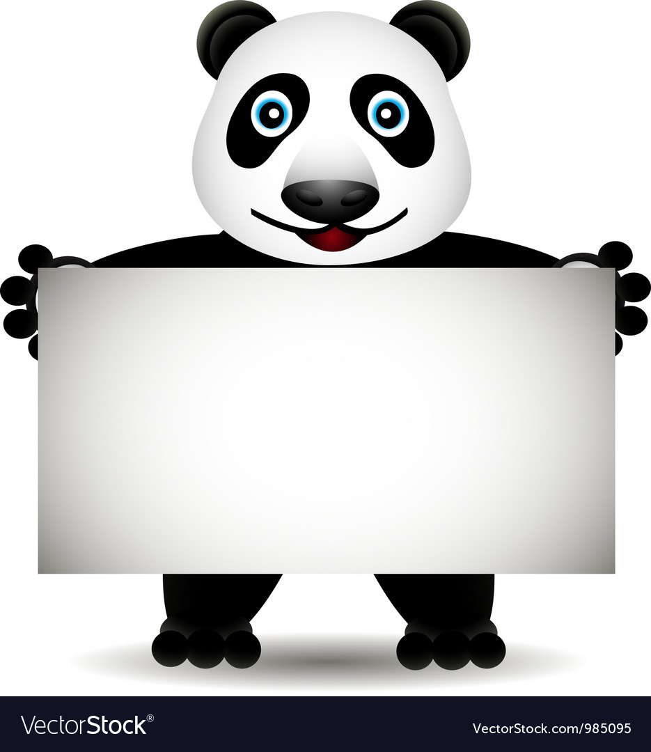 Cartoon panda with blank sign vector | Price: 1 Credit (USD $1)