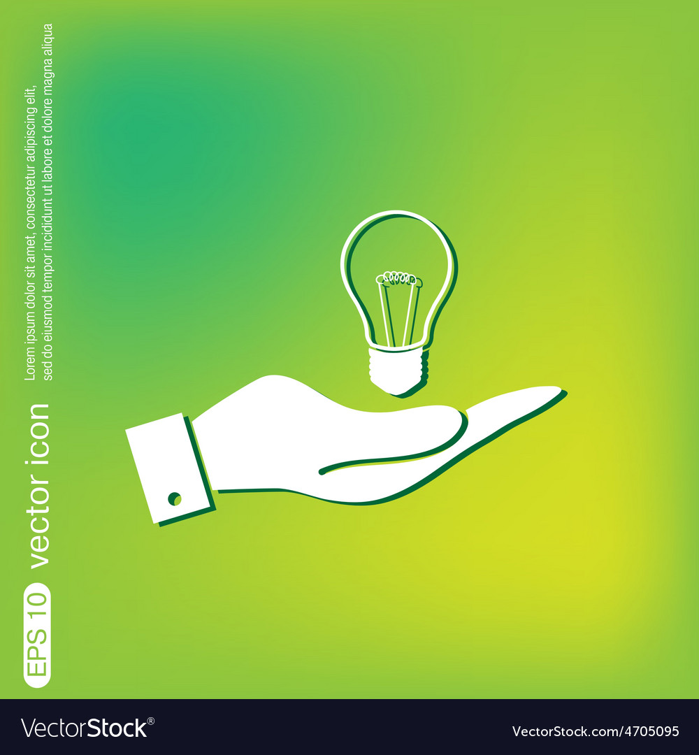 Hand holding a lightbulb character ideas vector | Price: 1 Credit (USD $1)