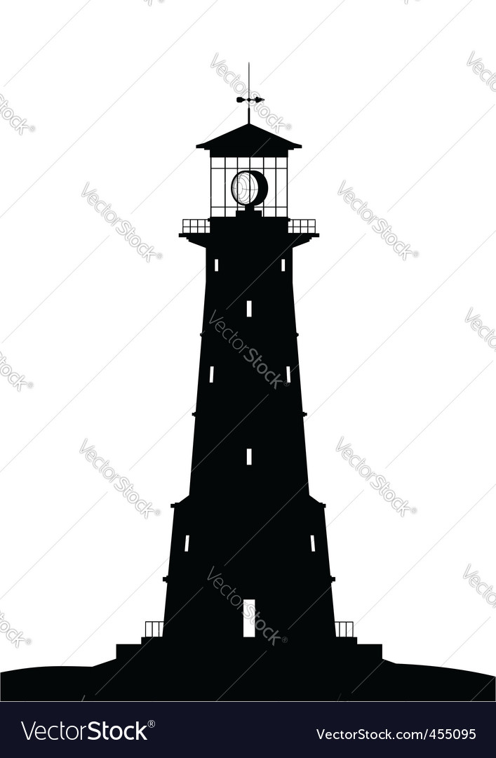 Lighthouse black isolated on white vector | Price: 1 Credit (USD $1)
