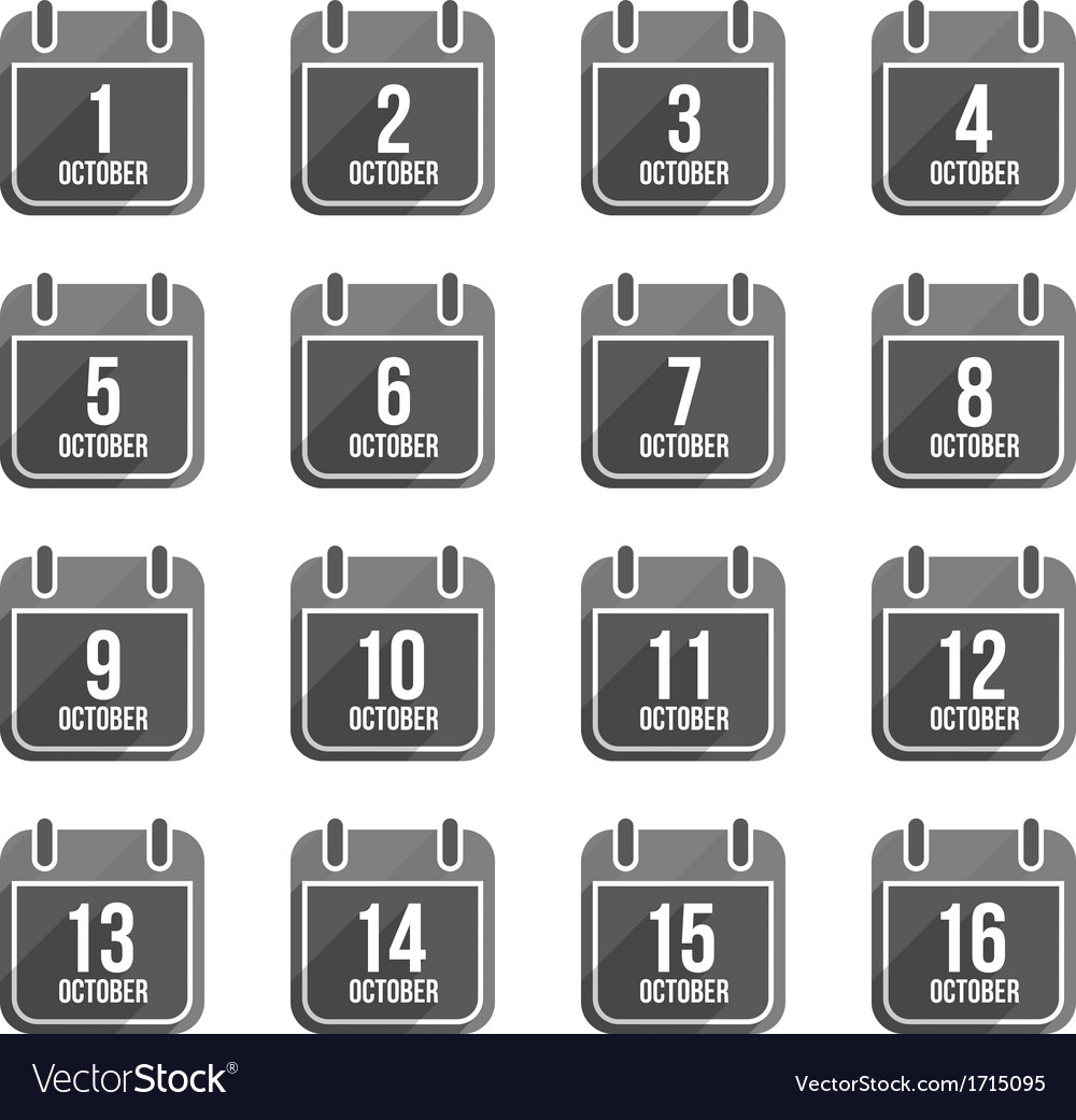 October flat calendar icons with long shadow set 1 vector | Price: 1 Credit (USD $1)