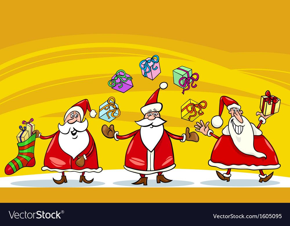 Santa claus christmas group cartoon vector   Price: 1 Credit (USD $1)