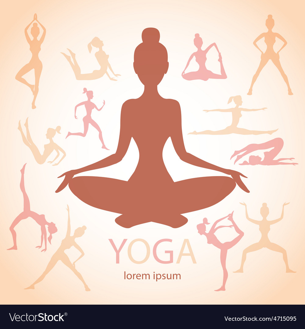 Three contours women yoga poses beige background vector | Price: 1 Credit (USD $1)