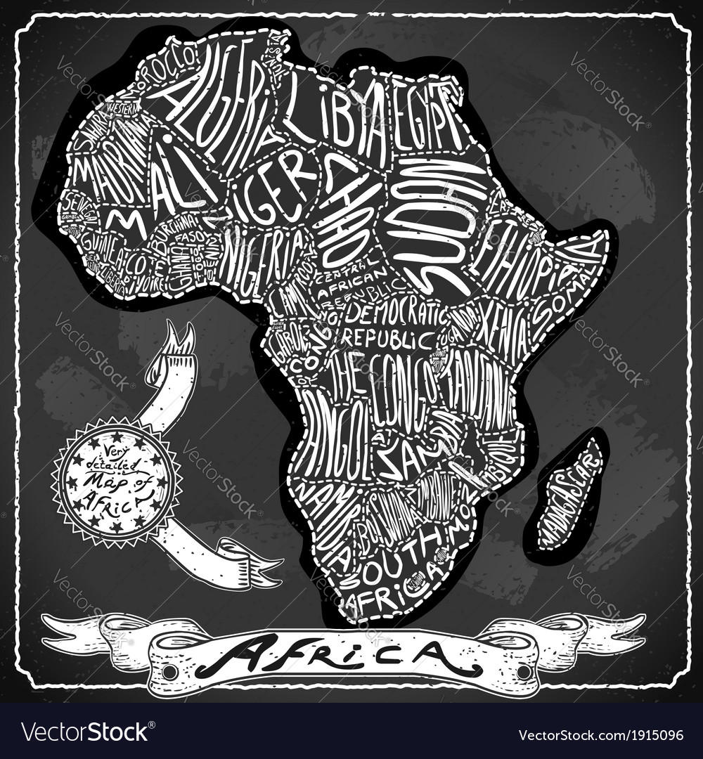 Africa map on vintage handwriting blackboard vector | Price: 1 Credit (USD $1)