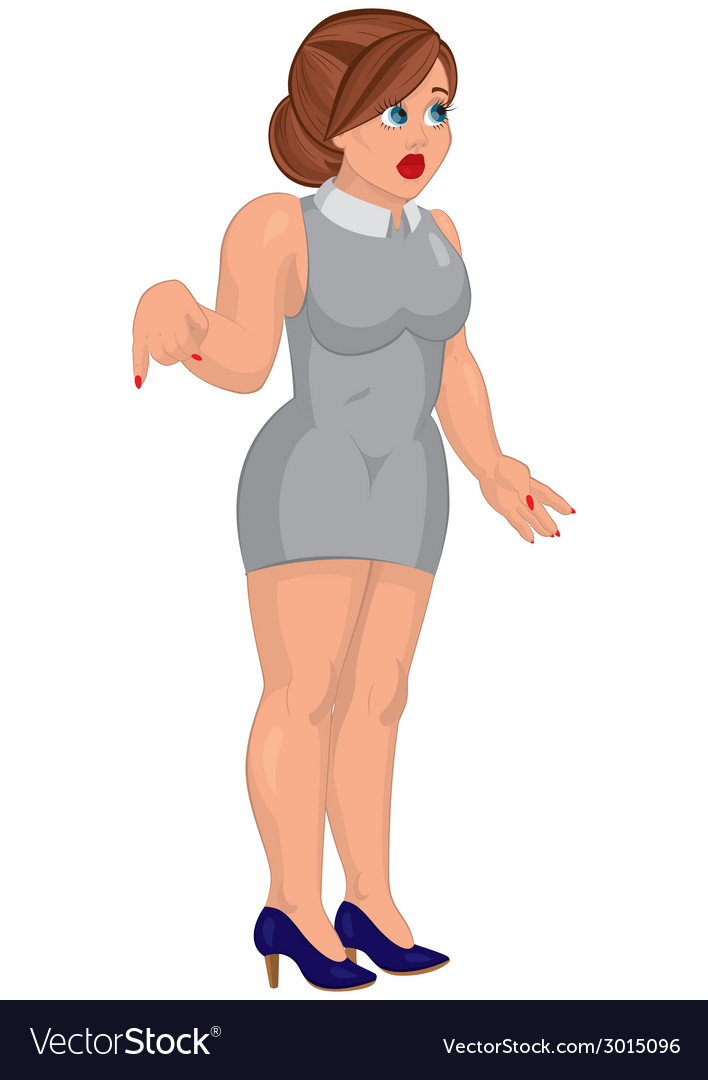 Cartoon young woman in gray mini dress standing vector | Price: 1 Credit (USD $1)
