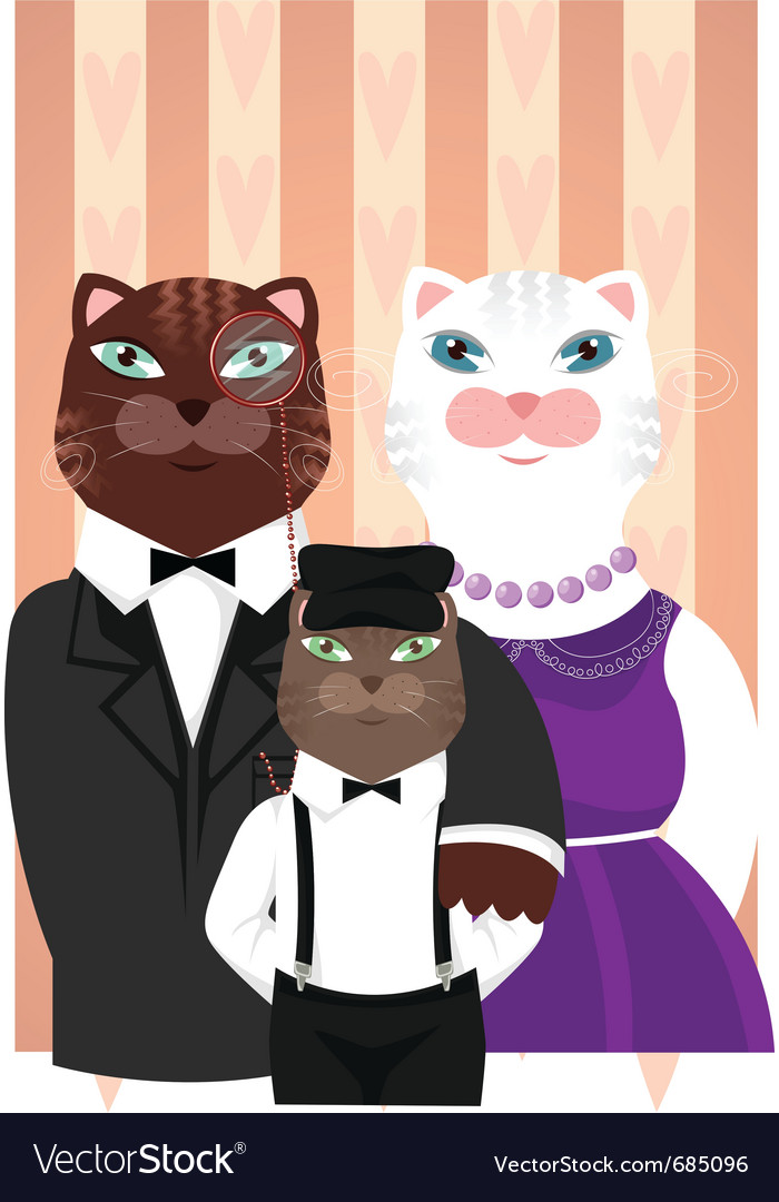 Cats family portrait vector | Price: 3 Credit (USD $3)