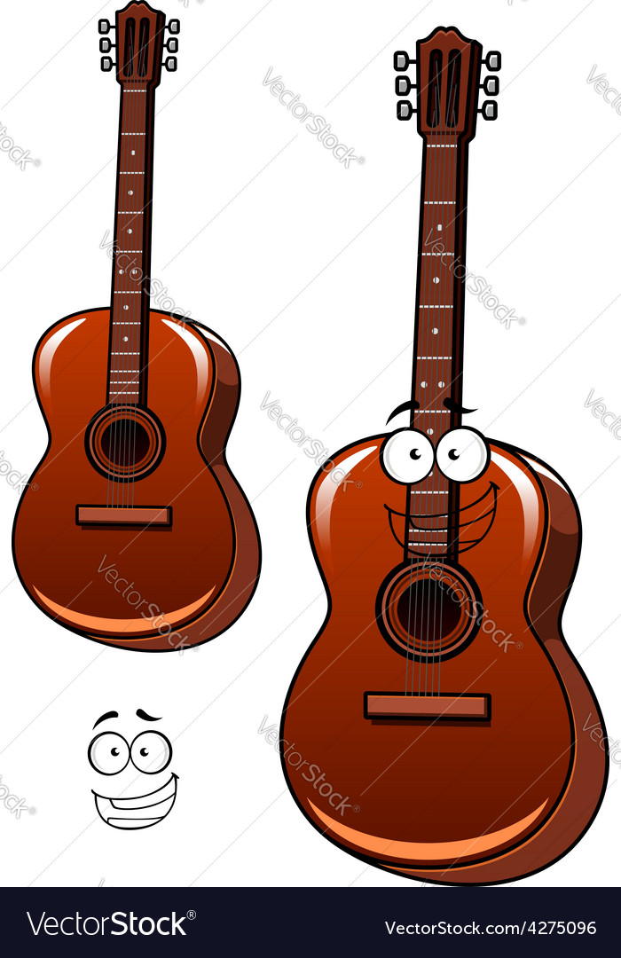 Classical acoustic guitar cartoon character vector | Price: 1 Credit (USD $1)