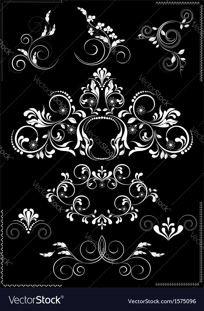 Collection white flourishes patterns vector | Price: 1 Credit (USD $1)