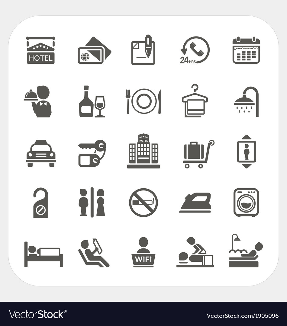 Hotel and hotel services icons set vector   Price: 1 Credit (USD $1)