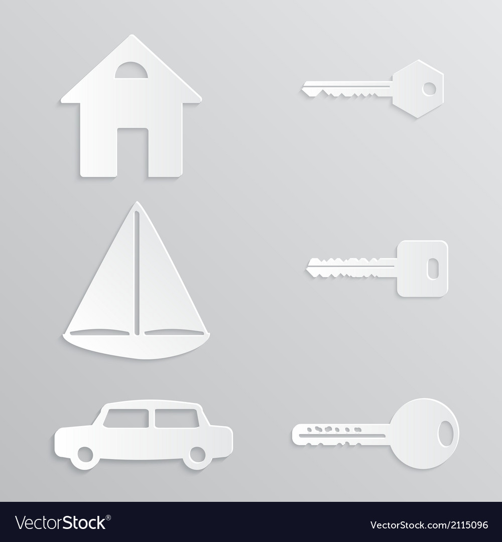 House yacht car key paper-cut vector | Price: 1 Credit (USD $1)