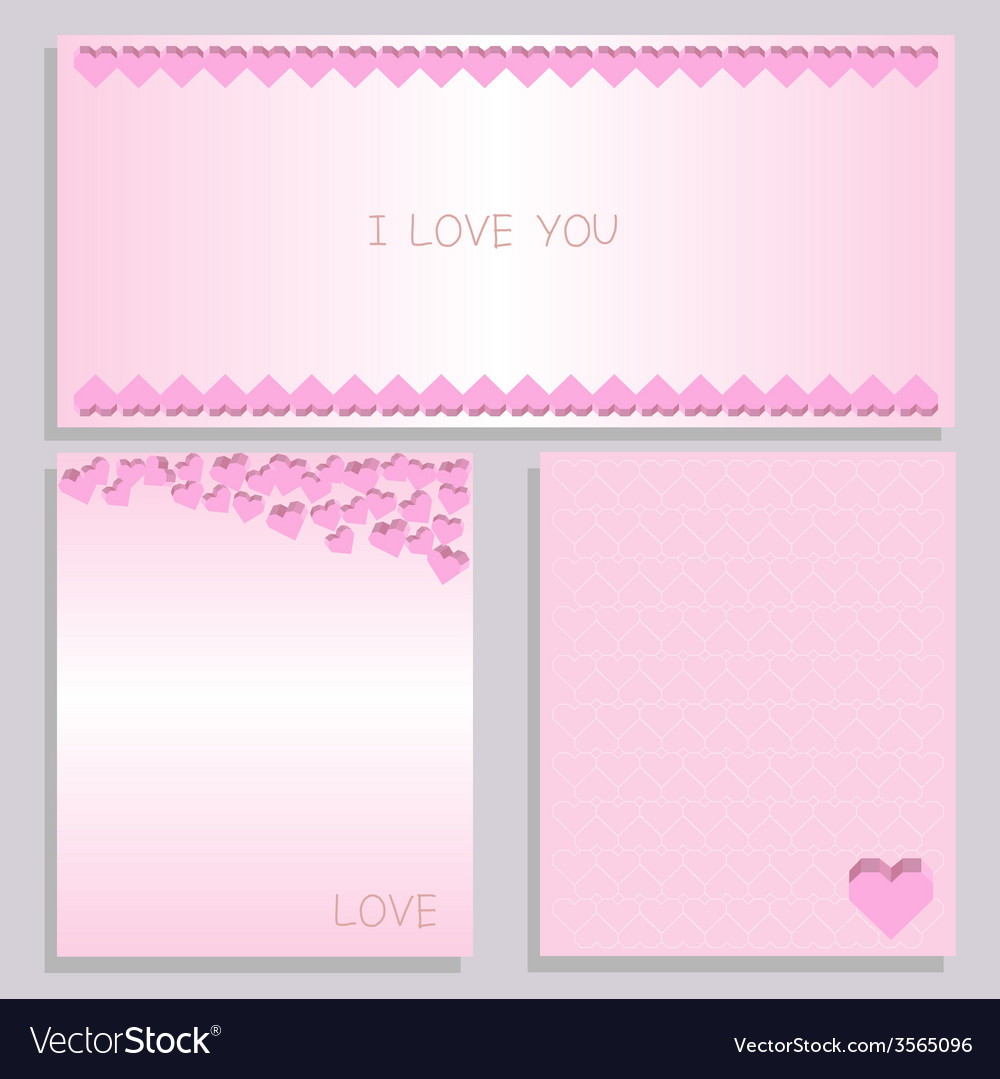 Paper heart card pink set vector | Price: 1 Credit (USD $1)