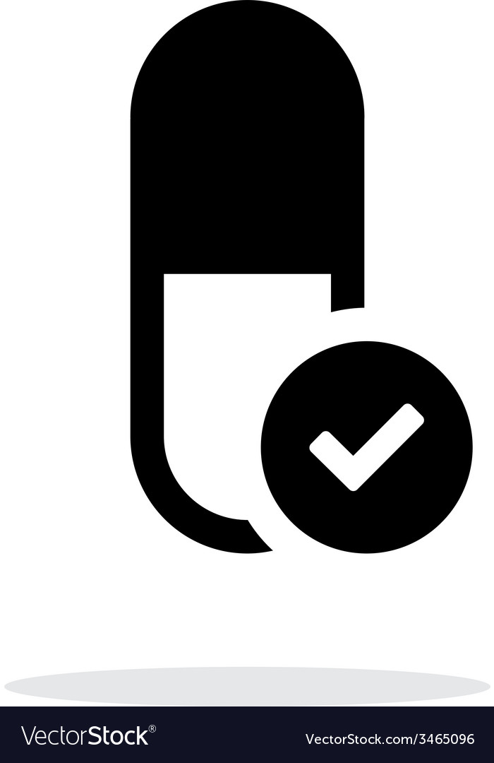 Pill capsule icon with sign check on white vector | Price: 1 Credit (USD $1)