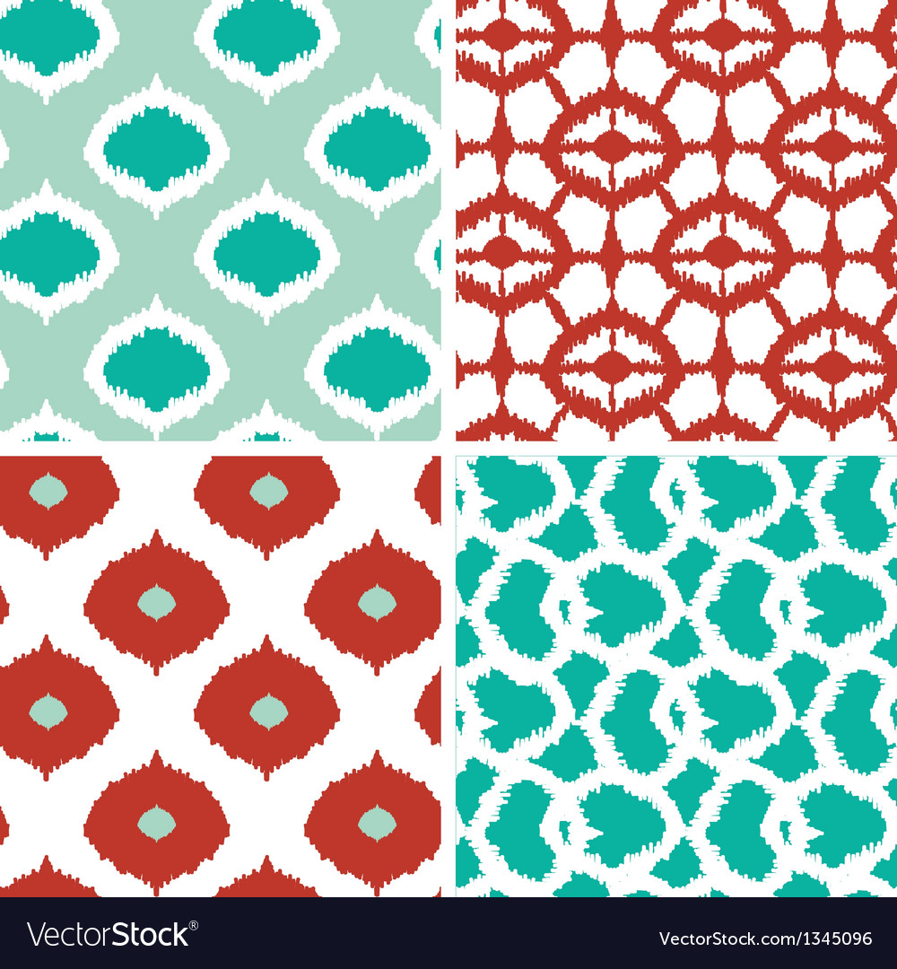 Set of green and red ikat geometric seamless vector | Price: 1 Credit (USD $1)