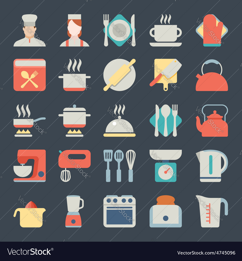 Set of kitchen icons in flat design vector | Price: 1 Credit (USD $1)
