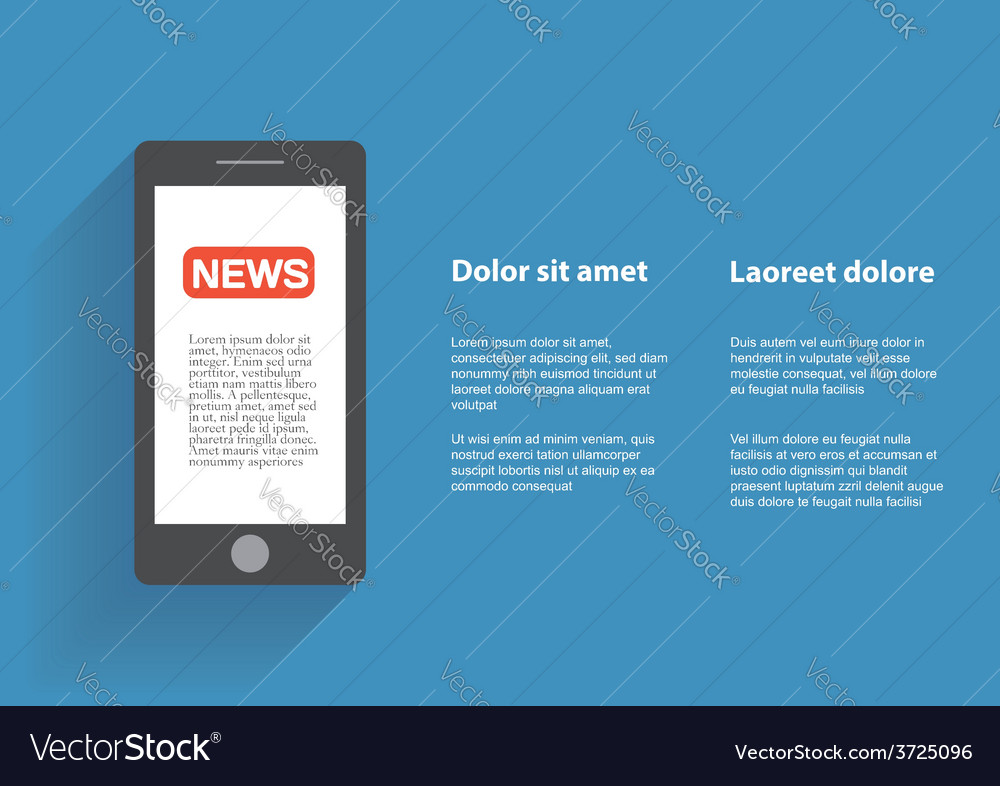 Smartphone with news icon on the screen vector