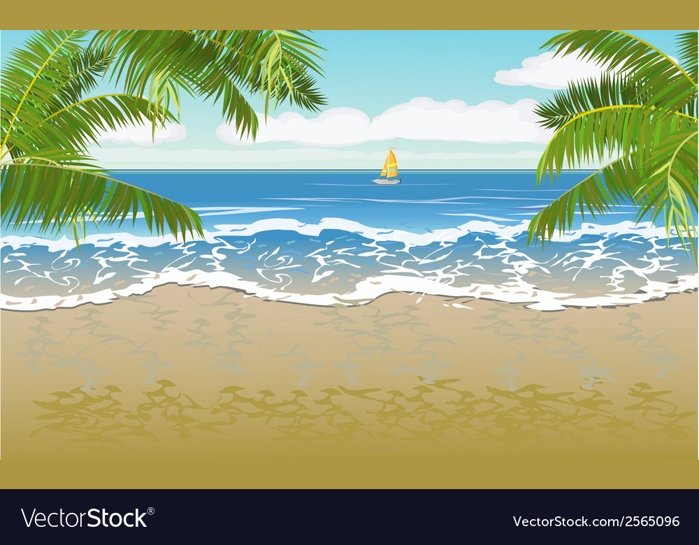 Travel the sea yachts palm trees furlough vector | Price: 1 Credit (USD $1)