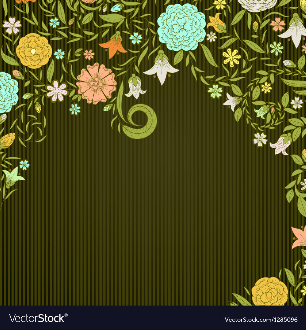 Vintage background with doodle flowers vector | Price: 1 Credit (USD $1)