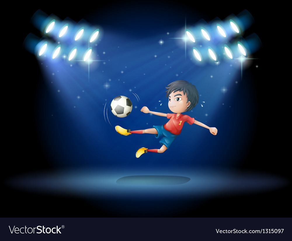 A young boy playing soccer with spotlights vector | Price: 1 Credit (USD $1)