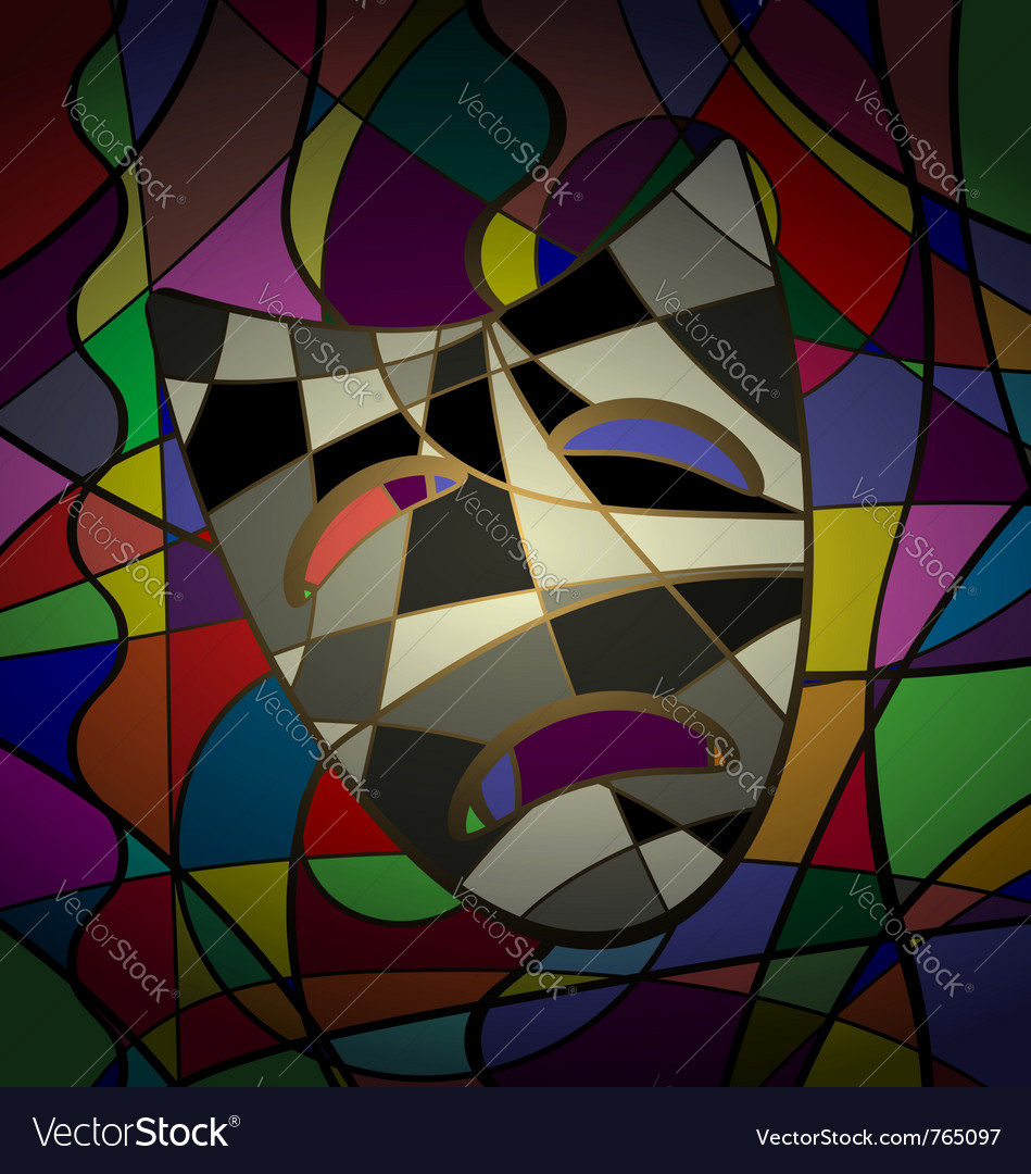 Abstract background theatrical mask tragedy vector | Price: 1 Credit (USD $1)