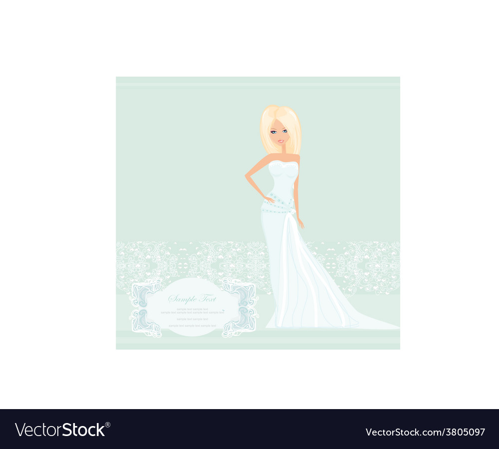 Beautiful blond bride card vector | Price: 1 Credit (USD $1)