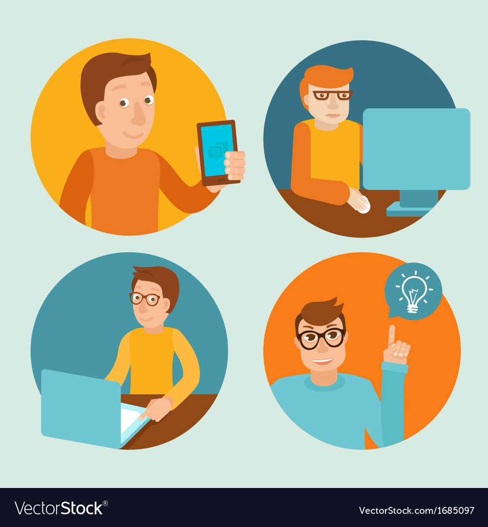 Characters working at computers vector | Price: 1 Credit (USD $1)