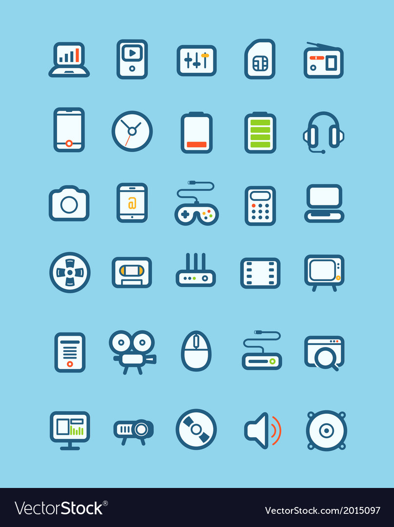 Different tech equipment icons vector | Price: 1 Credit (USD $1)