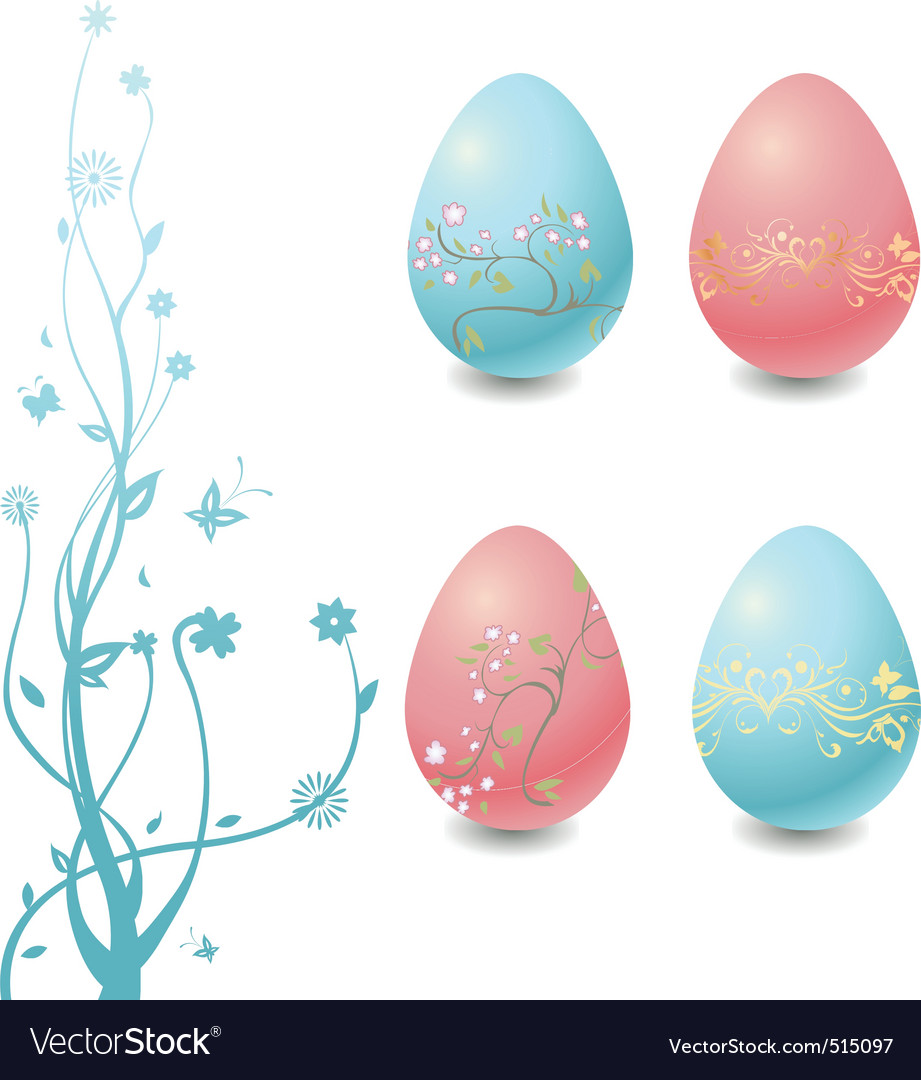 Easter eggs with floral elements vector   Price: 1 Credit (USD $1)