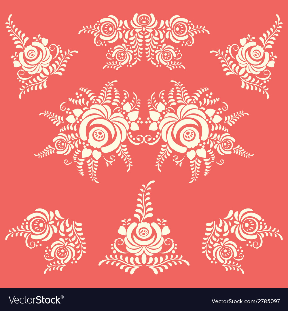 Floral elements in gzhel style vector | Price: 1 Credit (USD $1)