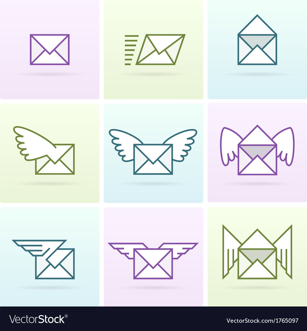 Flying email messages icon set vector | Price: 1 Credit (USD $1)