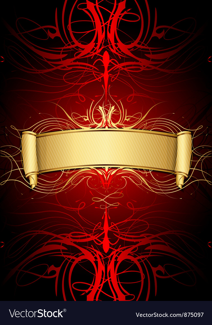 Gold scroll on red background vector | Price: 1 Credit (USD $1)