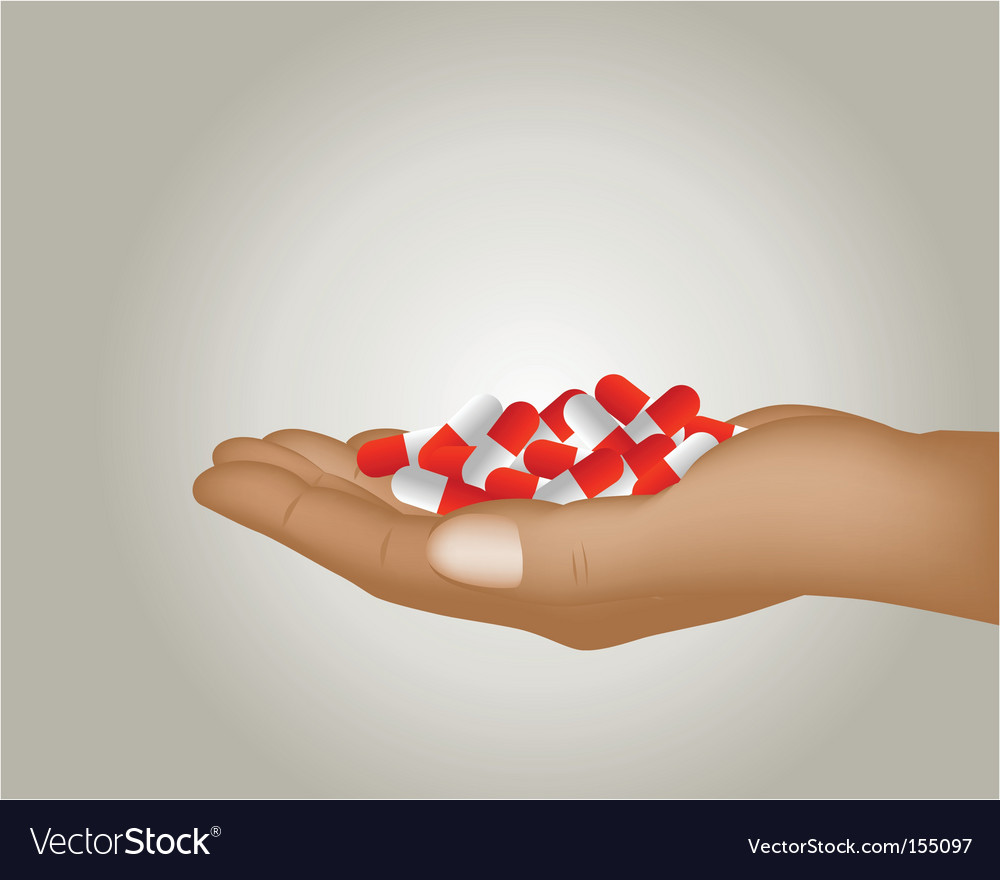 Hand with pills vector   Price: 1 Credit (USD $1)