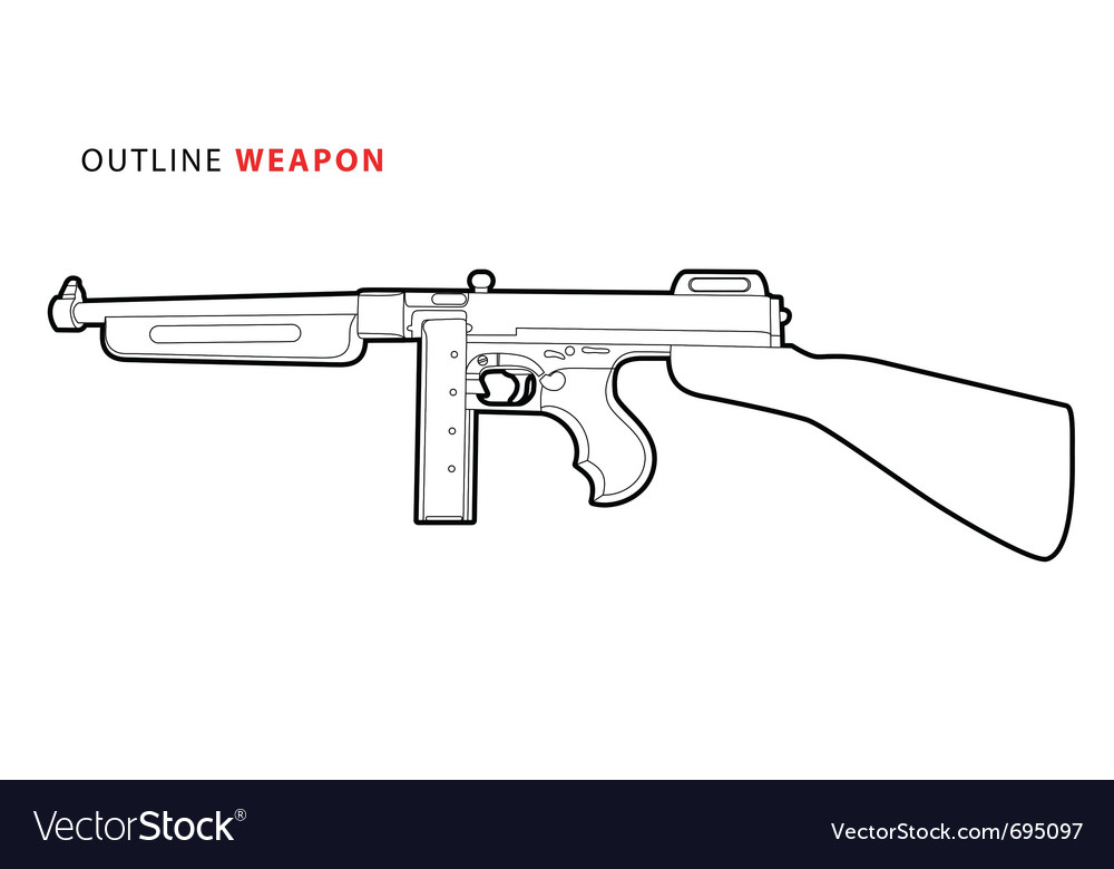 Outline tommy gun vector | Price: 1 Credit (USD $1)