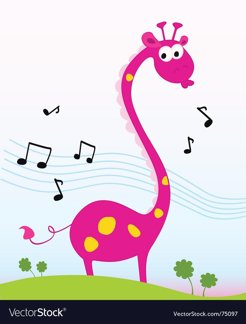 Singing giraffe vector   Price: 1 Credit (USD $1)