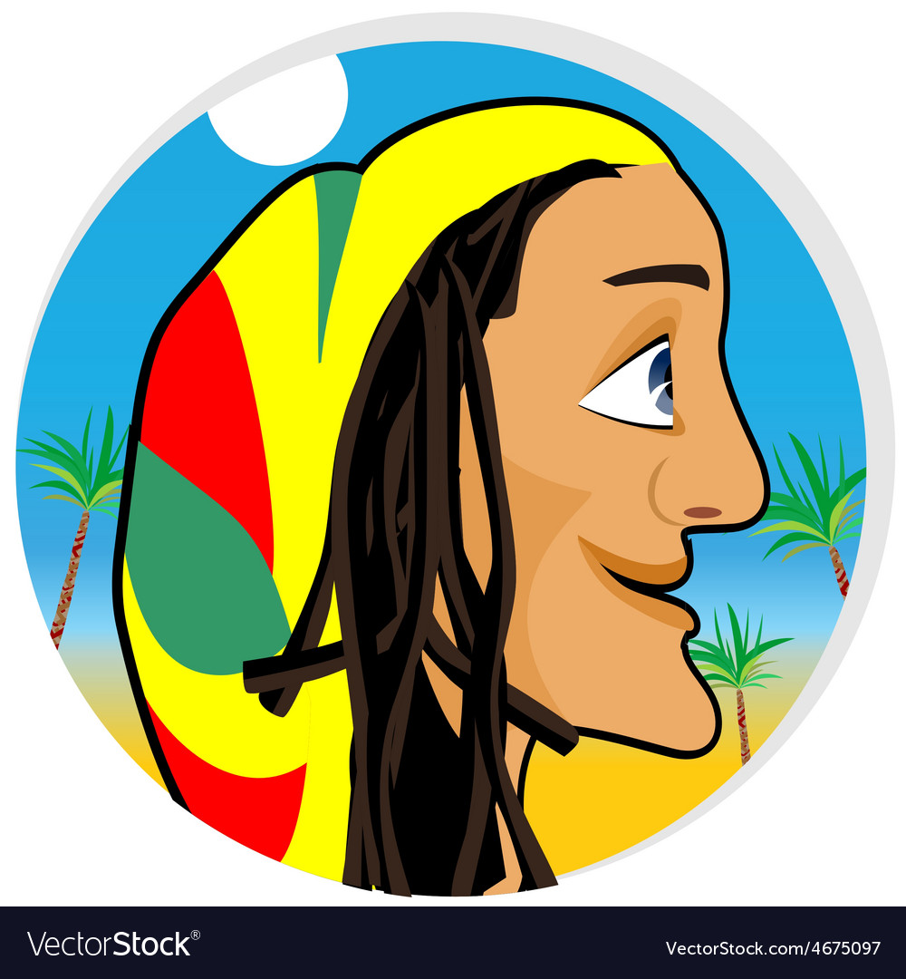 Smiling rastafarian looking forward vector | Price: 1 Credit (USD $1)