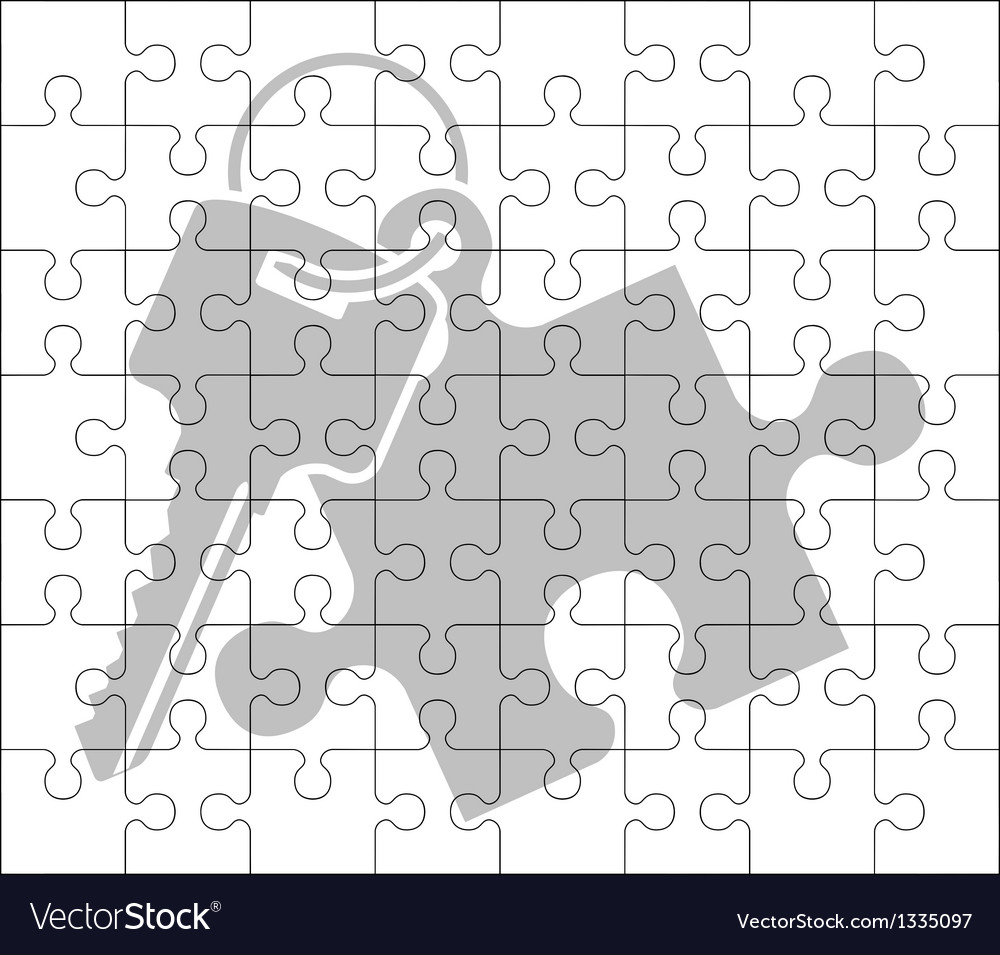 Stencil of puzzle key vector | Price: 1 Credit (USD $1)