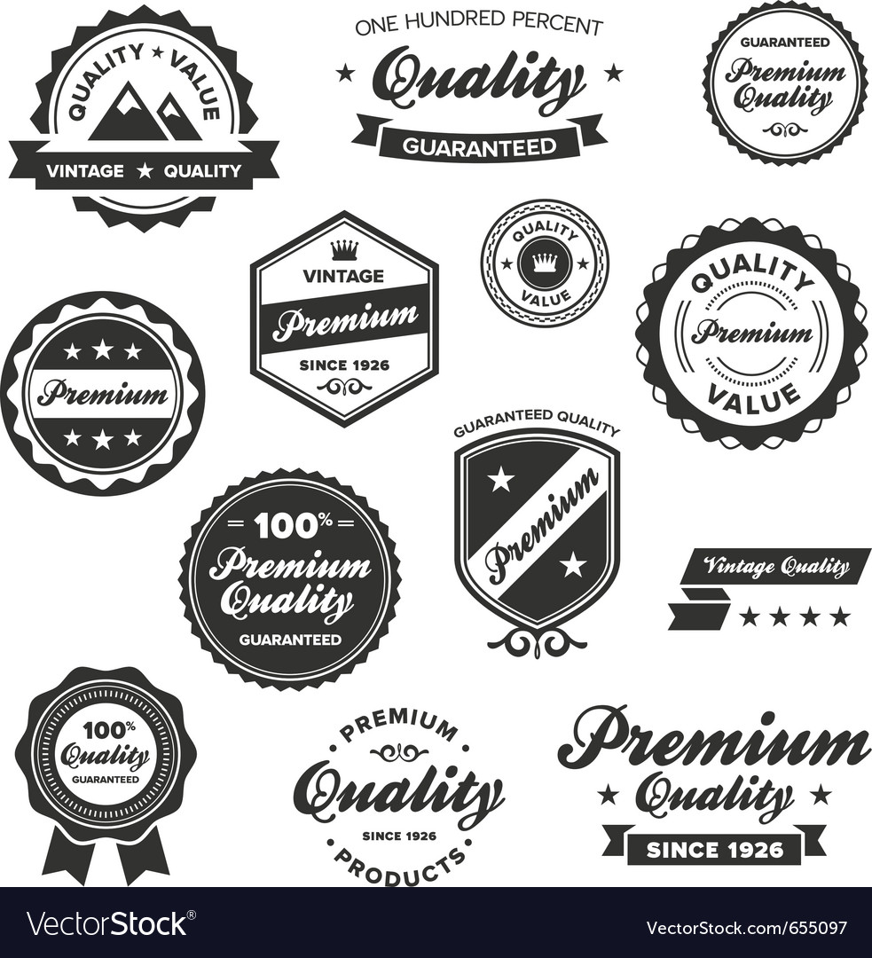 Vintage quality labels vector | Price: 3 Credit (USD $3)