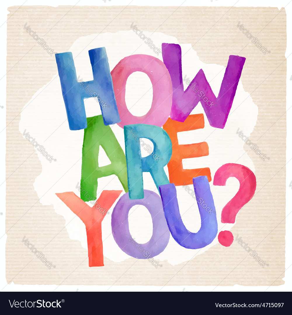 Watercolor how are you phrase vector | Price: 1 Credit (USD $1)