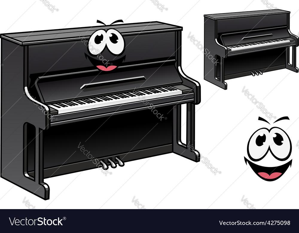 Cute black piano cartoon character vector | Price: 1 Credit (USD $1)