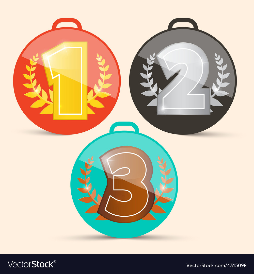 First second and third place retro medals set vector | Price: 1 Credit (USD $1)