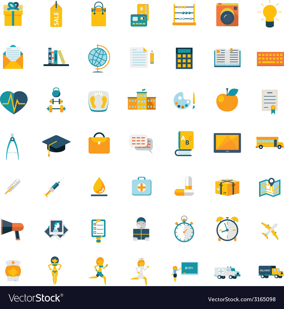 Flat icons big set travel marketing hipster vector | Price: 1 Credit (USD $1)
