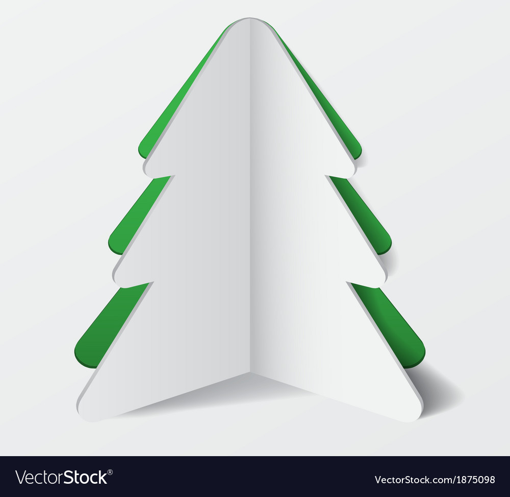 Paper cardboard christmas tree banner vector | Price: 1 Credit (USD $1)