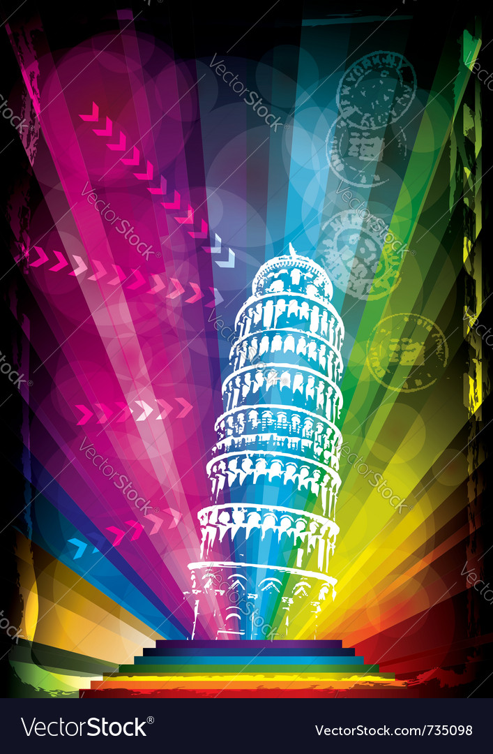Pisa tower and neon lights vector | Price: 1 Credit (USD $1)