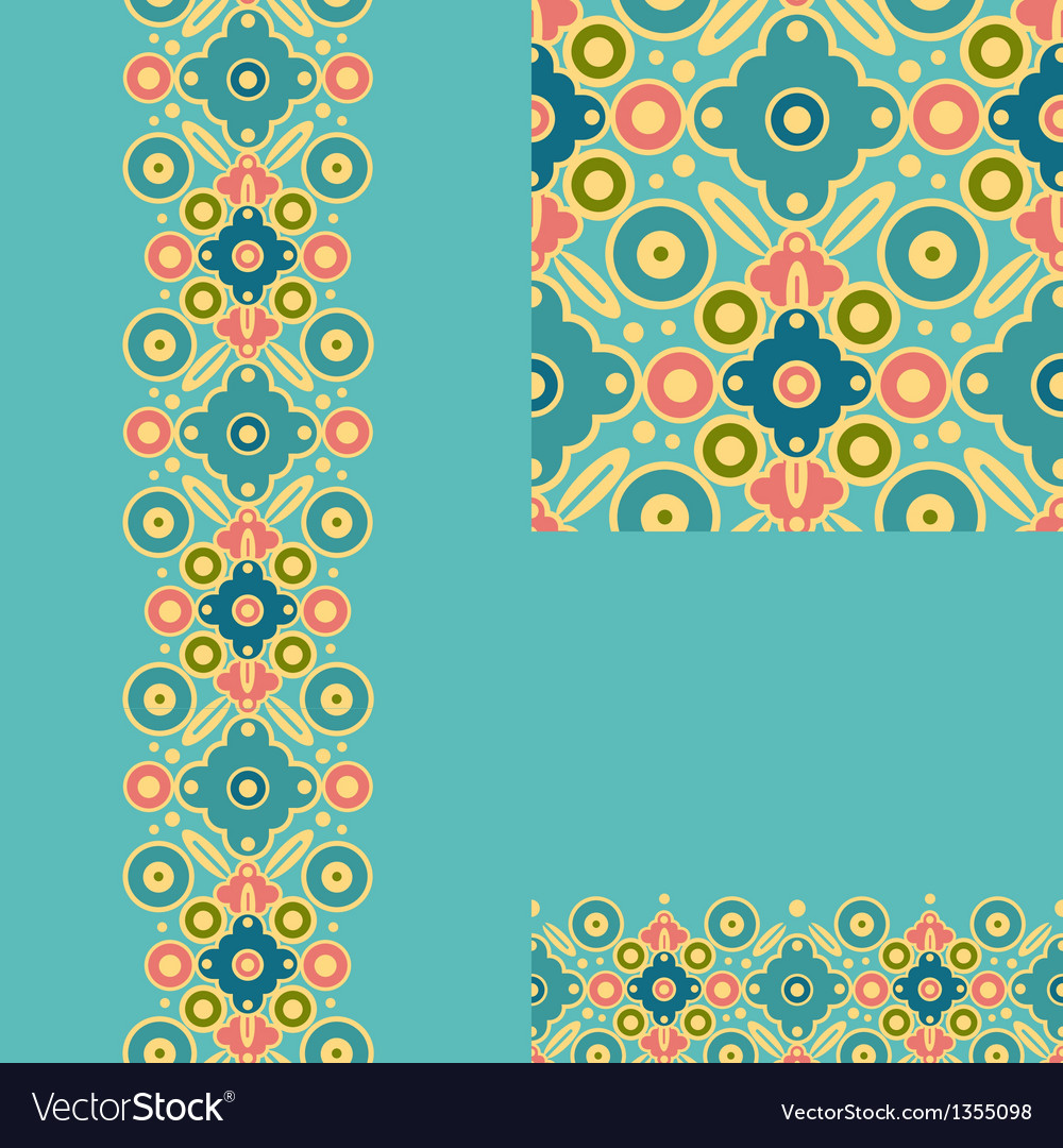 Set of geometric seamless pattern and borders vector | Price: 1 Credit (USD $1)