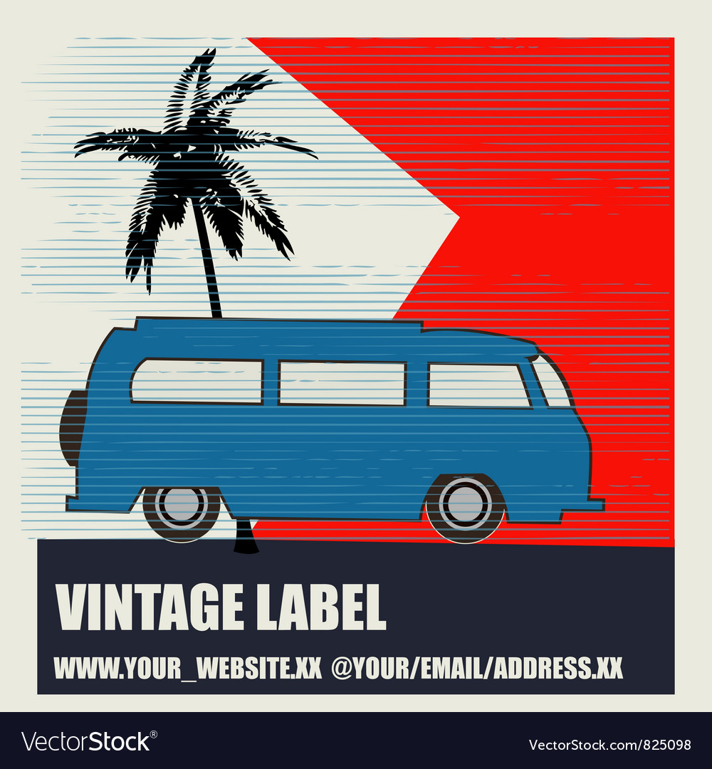 Tropical camping vintage label vector   Price: 1 Credit (USD $1)