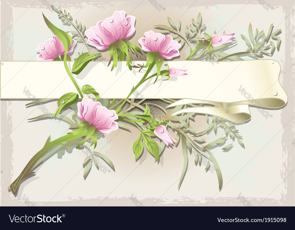 Vintage flower ornament with banner vector | Price: 1 Credit (USD $1)
